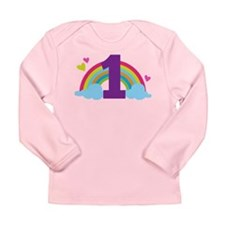 1st Birthday Rainbow Hearts Long Sleeve Infant T-S