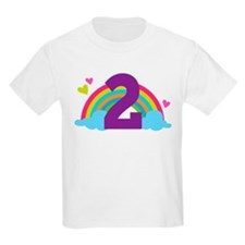 2nd Birthday Hearts and Rainbow T-Shirt
