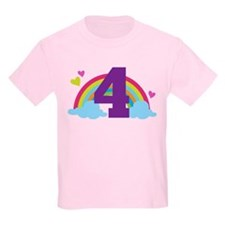4th Birthday Heart Rainbow T-Shirt