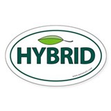 Hybrid Auto Bumper Oval Sticker -Green Leaf Sticke