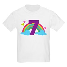 Heart Rainbow 7th Birthday T-Shirt