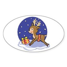 Baby Christmas Reindeer Oval Decal