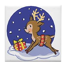 Baby Christmas Reindeer Tile Coaster