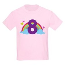 Heart Rainbow 8th Birthday T-Shirt