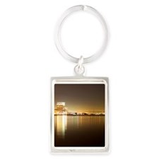 San Diego Skyline Night Portrait Keychain