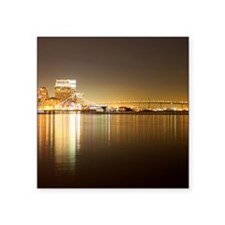 "San Diego Skyline Night Square Sticker 3"" x 3"""