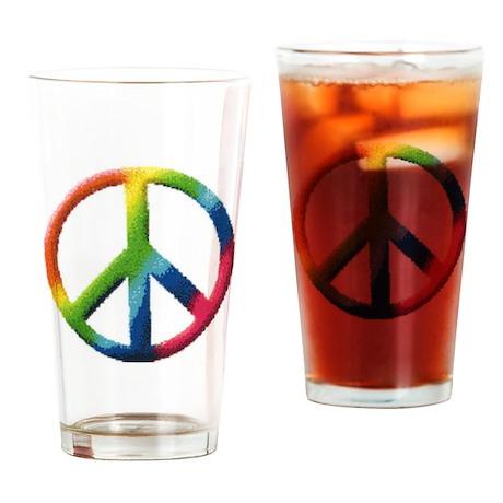 Rainbow Peace Sign Drinking Glass