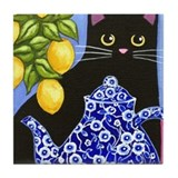 Cute Black cat Tile Coaster
