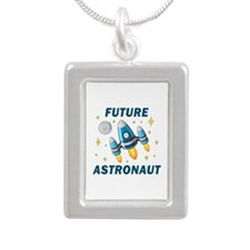 Future Astronaut (Boy) - Silver Portrait Necklace
