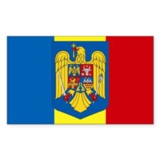 Romania Sticker w/ coat of arms (Rectangular)