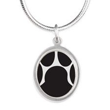 Paw Print Silver Oval Necklace