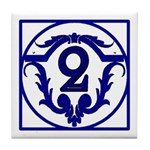 Blue French Letter Tile 2 Tile Coaster
