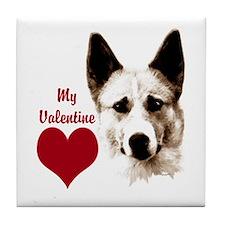 canaan dog valentine Tile Coaster