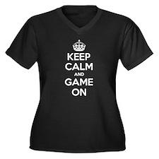 Keep Calm Game On Women's Plus Size V-Neck Dark T-