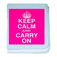Keep Calm and Carry on Pink and White baby blanket