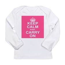 Keep Calm and Carry on Pink and White Long Sleeve