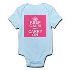 Keep Calm and Carry on Pink and White Infant Bodys
