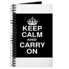 Keep Calm and Carry on Black and White Journal