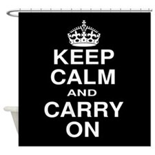 Keep Calm and Carry on Black and White Shower Curt