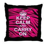 Keep Calm and Carry on Pink Zebra Stripes Throw Pi