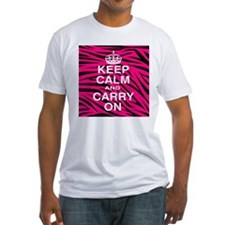 Keep Calm and Carry on Pink Zebra Stripes Shirt