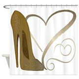 Vintage Stiletto Shoe Hearts Shower Curtain