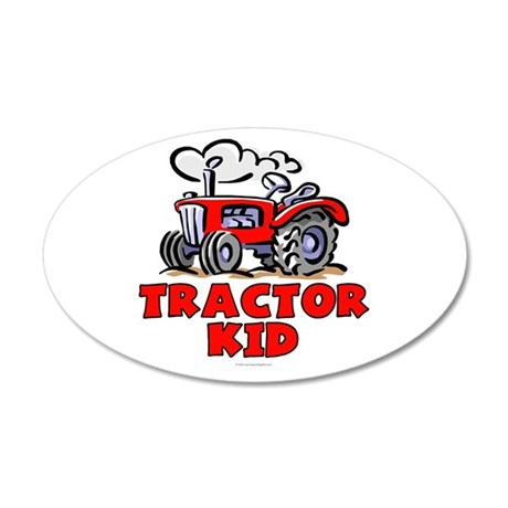 Red Tractor Kid 20x12 Oval Wall Decal
