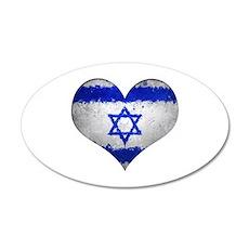 Israeli heart 35x21 Oval Wall Decal