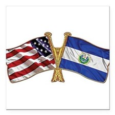 El-Salvador America Friend ship flag. Square Car M