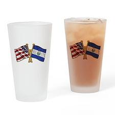El-Salvador America Friend ship flag. Drinking Gla