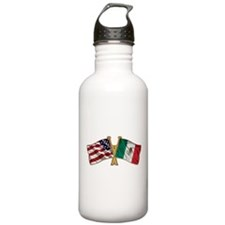 Mexico USA Friend ship flag Water Bottle