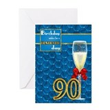 90th Birthday - Geometric Birthday Card Champagne