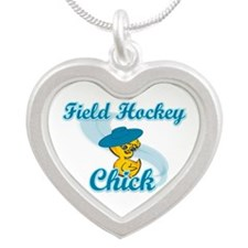 Field Hockey Chick #3 Silver Heart Necklace