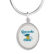 Geocache Chick #3 Silver Oval Necklace