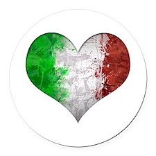 Italian Heart Round Car Magnet