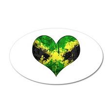 Jamaican heart 35x21 Oval Wall Decal
