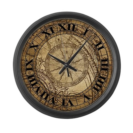 Vintage Compass Rose Collage Large Wall Clock By Retroandvintage