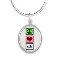 Peace Love Swimming Silver Oval Necklace