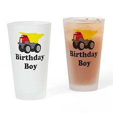 Dump Truck Birthday Boy Drinking Glass