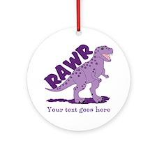 Personalized Purple Dinosaur RAWR Ornament (Round)