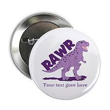 "Personalized Purple Dinosaur RAWR 2.25"" Button"