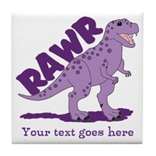 Personalized Purple Dinosaur RAWR Tile Coaster