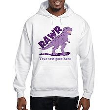Personalized Purple Dinosaur RAWR Hoodie Sweatshirt