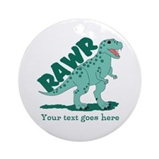 Personalized Green Dinosaur RAWR Ornament (Round)