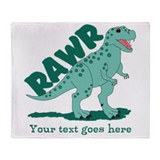 Personalized Green Dinosaur RAWR Throw Blanket