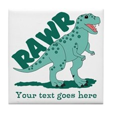 Personalized Green Dinosaur RAWR Tile Coaster
