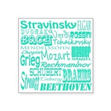 "Classical Composers Square Sticker 3"" x 3"""