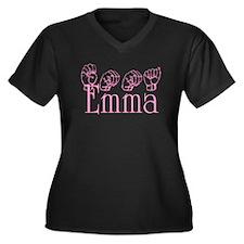 Emma in ASL Women's Plus Size V-Neck Dark T-Shirt