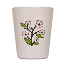 pink cherry blossoms Shot Glass