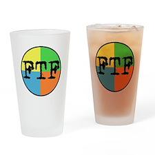 FTF Round Sticker Design Drinking Glass